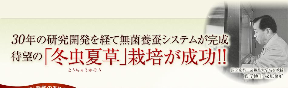 30年の研究開発を経て無菌養蚕システムが完成!待望の「冬虫夏草」栽培が成功!!